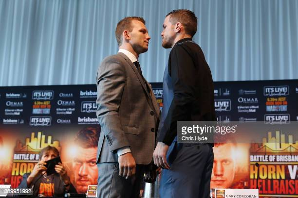 Jeff Horn and Gary Corcoran face off ahead of their WBO World Welterweight Championship fight on December 13 Fighters pose after a press conference...