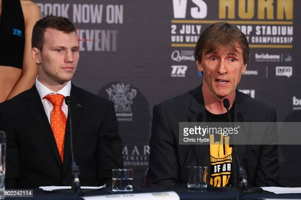 Jeff Horn and trainer Glenn Rushton during the official Pacquiao Vs Horn press conference for WBO World Welterweight Championship at Suncorp Stadium...
