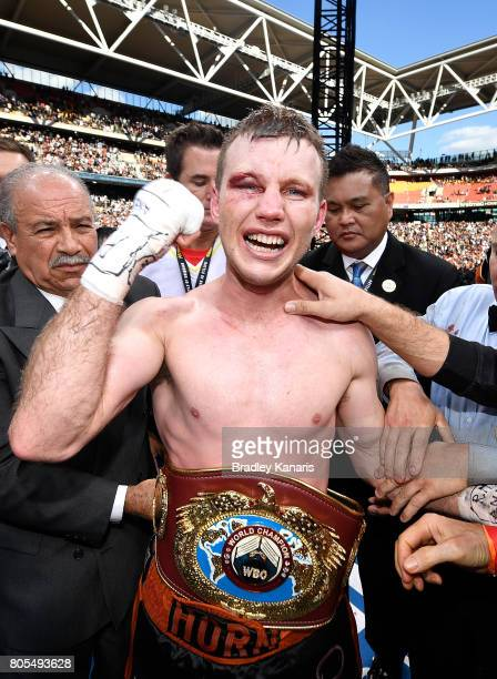 Jeff Horn celebrates victory after the WBO Welterweight Title Fight between Jeff Horn of Australia and Manny Pacquiao of the Philippines at Suncorp...