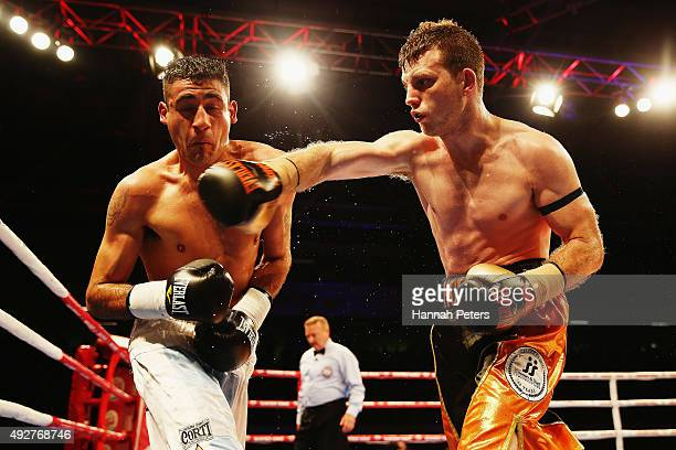 Jeff Horn fights Alfredo Blaanco during the Premier Undercard bout between Jeff Horn of Australia and Alfredo Blanco of Argentina at The Trusts Arena...