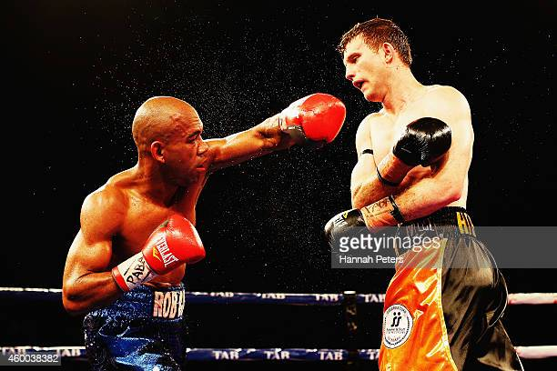 Jeff Horn fights Robson Assis during the Fight for Life at Claudelands Event Centre on December 6 2014 in Hamilton New Zealand