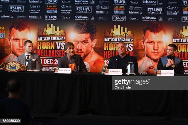 Jeff Horn Glen Ruston Peter Stanley and Gary Corcoran speak to media during the official press conference ahead of the WBO World Welterweight...