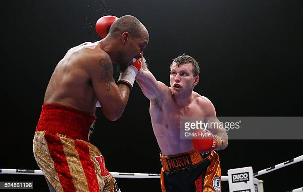 Jeff Horn of Australia celebrates winning his Welterweight bout against Randall Bailey of the USA on April 27 2016 in Brisbane Australia