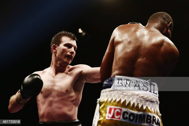 Jeff Horn of Australia fights Fernando Ferreira Da Silva of Brazil during fight four at Vodafone Events Centre on July 5 2014 in Auckland New Zealand