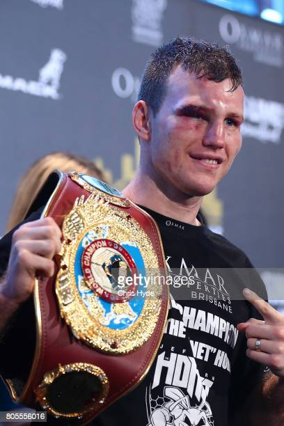 Jeff Horn of Australia poses after winning the WBO World Welterweight Title Fight against Manny Pacquiao of the Philippines at Suncorp Stadium on...