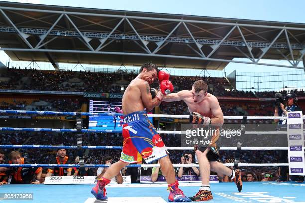 Jeff Horn of Australia punches Manny Pacquiao during the WBO World Welterweight Title Fight at Suncorp Stadium on July 2 2017 in Brisbane Australia