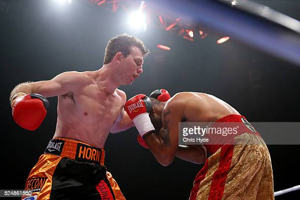 Jeff Horn of Australia punches Randall Bailey of the USA during their Welterweight bout on April 27 2016 in Brisbane Australia