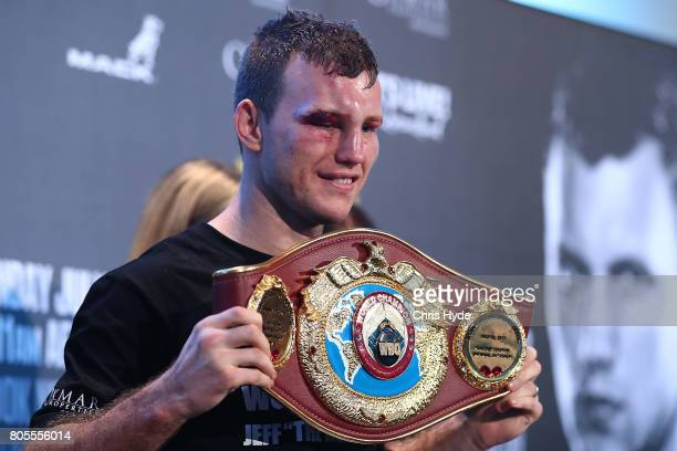 Jeff Horn of Australia speaks to media after winning the WBO World Welterweight Title Fight against Manny Pacquiao of the Philippines at Suncorp...