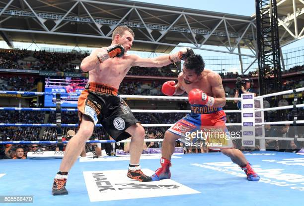 Jeff Horn of Australia throws a punch during the WBO Welterweight Title Fight between Jeff Horn of Australia and Manny Pacquiao of the Philippines at...