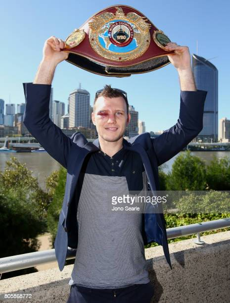 Jeff Horn poses for the media with his WBO World Welterweight belt during a media opportunity at South Bank Parklands on July 3 2017 in Brisbane...