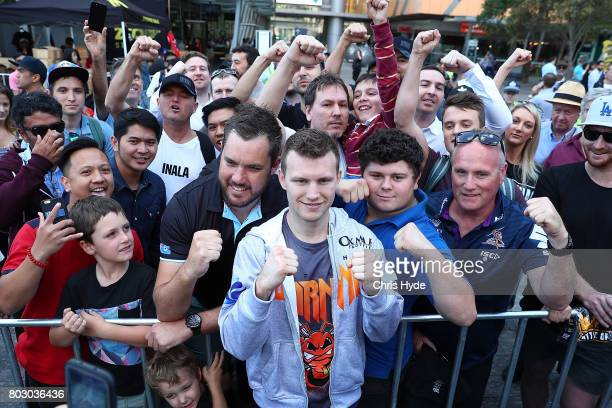 Jeff Horn poses with fans after a training session at Reddacliff Place on June 29 2017 in Brisbane Australia
