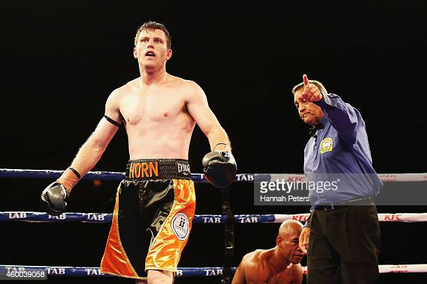 Jeff Horn walks off after knocking Robson Assis out during the Fight for Life at Claudelands Event Centre on December 6 2014 in Hamilton New Zealand