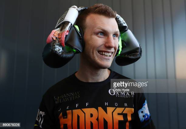 Jeff Horn wears boxing gloves on his head as a joke during the official weigh in at Sky Terrace on December 12 2017 in Brisbane Australia Horn and...