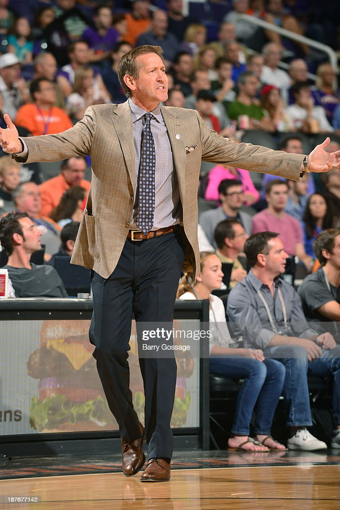 <a gi-track='captionPersonalityLinkClicked' href=/galleries/search?phrase=Jeff+Hornacek&family=editorial&specificpeople=213343 ng-click='$event.stopPropagation()'>Jeff Hornacek</a>, head coach of the Phoenix Suns, communicates with a player as the Suns host the New Orleans Pelicans on November 10, 2013 at U.S. Airways Center in Phoenix, Arizona.