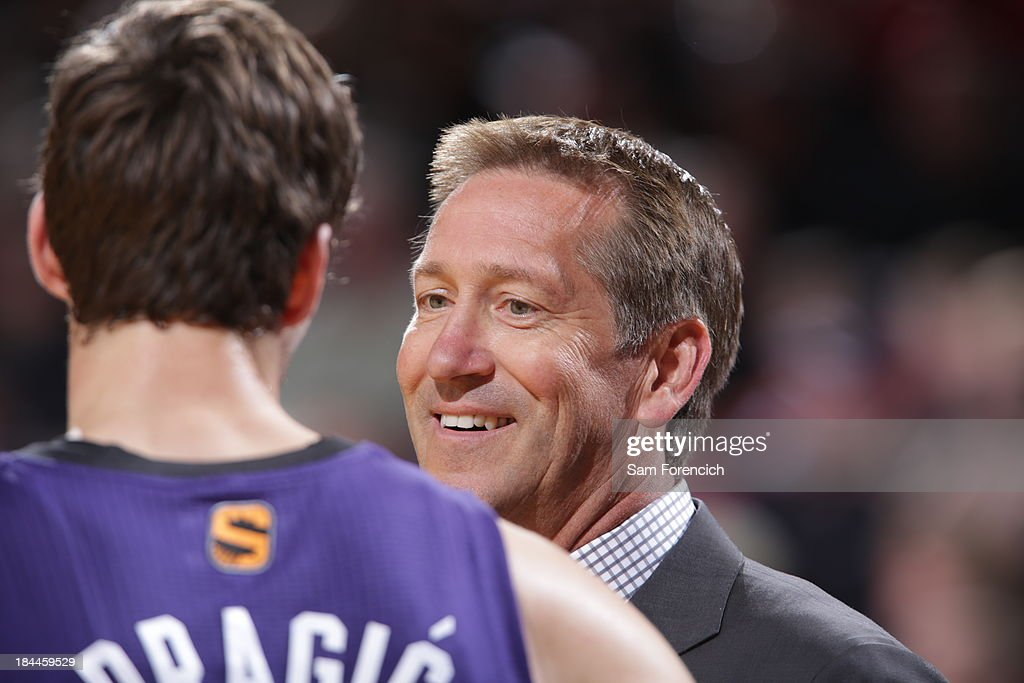 Jeff Hornacek head coach Phoenix Suns sits on the bench during the game against the Portland Trail Blazers on October 9, 2013 at the Moda Center Arena in Portland, Oregon.