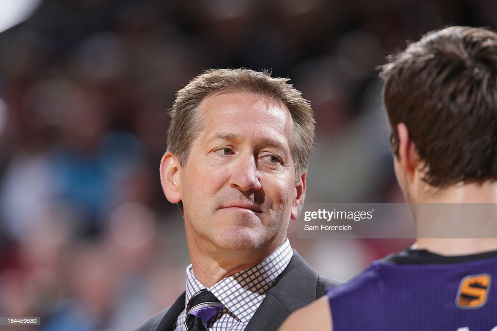 <a gi-track='captionPersonalityLinkClicked' href=/galleries/search?phrase=Jeff+Hornacek&family=editorial&specificpeople=213343 ng-click='$event.stopPropagation()'>Jeff Hornacek</a> head coach Phoenix Suns sits on the bench during the game against the Portland Trail Blazers on October 9, 2013 at the Moda Center Arena in Portland, Oregon.