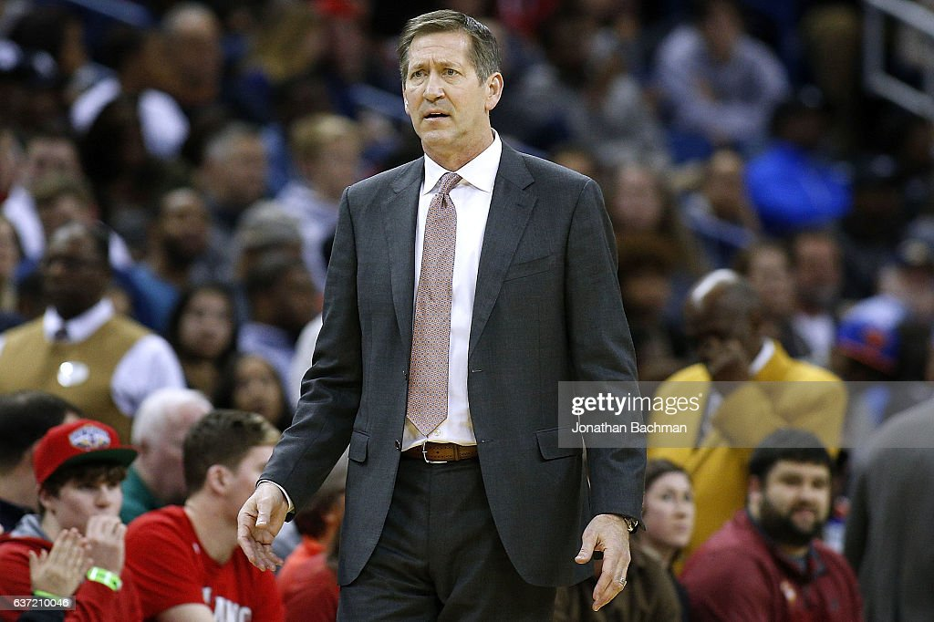 Jeff Hornacek of the New York Knicks reacts during a game against the New Orleans Pelicans at the Smoothie King Center on December 30, 2016 in New Orleans, Louisiana.