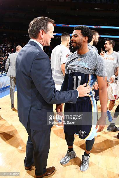 Jeff Hornacek of the New York Knicks talks to Mike Conley of the Memphis Grizzlies after the game on October 29 2016 at Madison Square Garden in New...