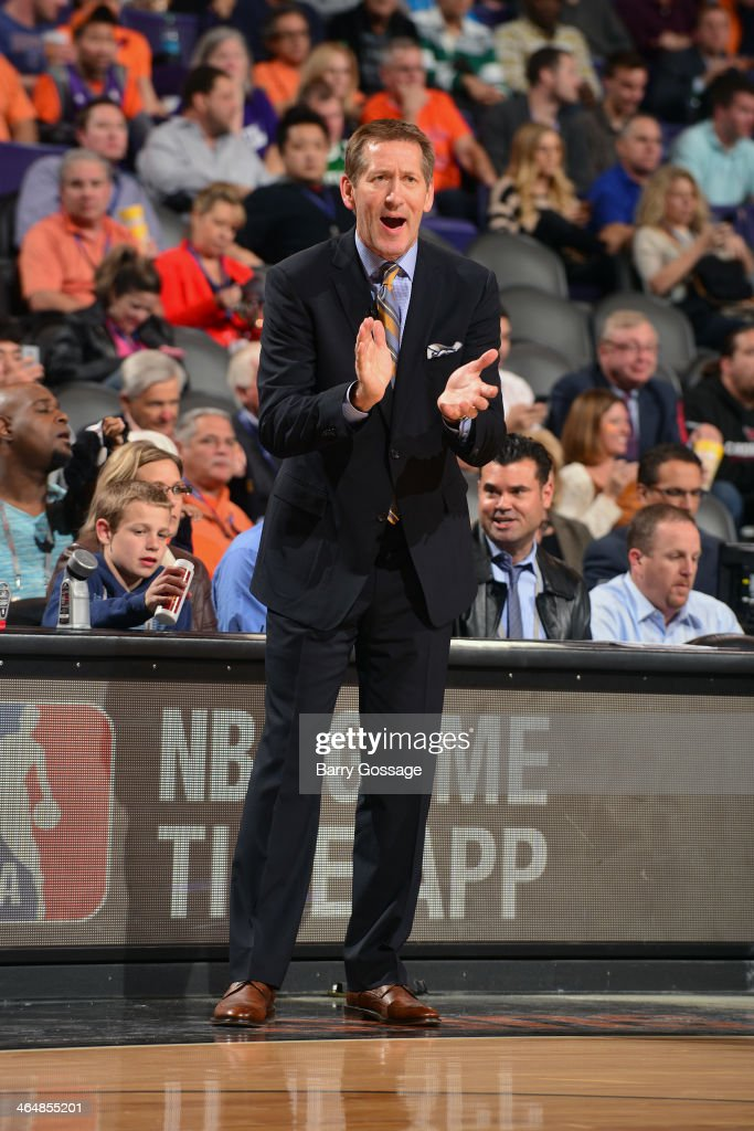 <a gi-track='captionPersonalityLinkClicked' href=/galleries/search?phrase=Jeff+Hornacek&family=editorial&specificpeople=213343 ng-click='$event.stopPropagation()'>Jeff Hornacek</a> of the Phoenix Suns during the game against the Indiana Pacers on January 22, 2014 at U.S. Airways Center in Phoenix, Arizona.