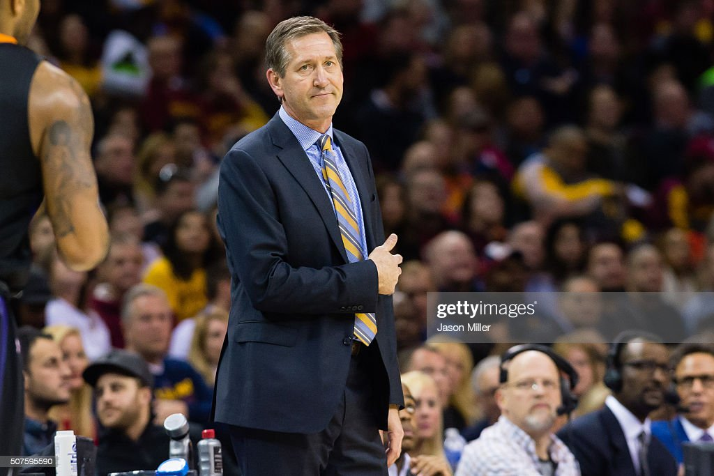 Jeff Hornacek of the Phoenix Suns reacts from the sidelines during the first half against the Cleveland Cavaliers at Quicken Loans Arena on January...