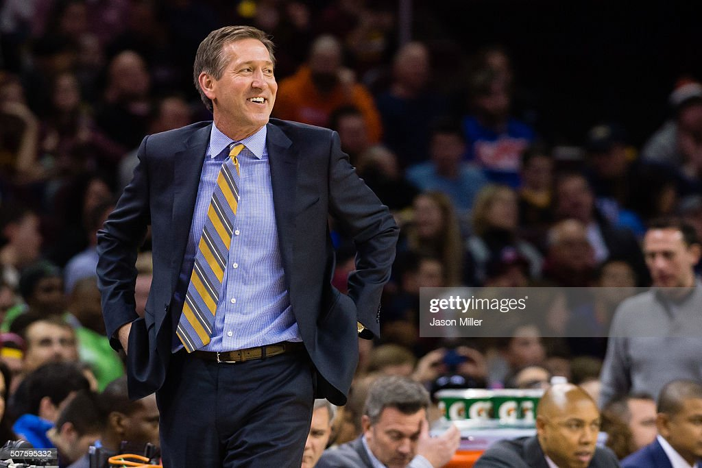 Jeff Hornacek of the Phoenix Suns reacts while on the sidelines during the first half against the Phoenix Suns at Quicken Loans Arena on January 27...