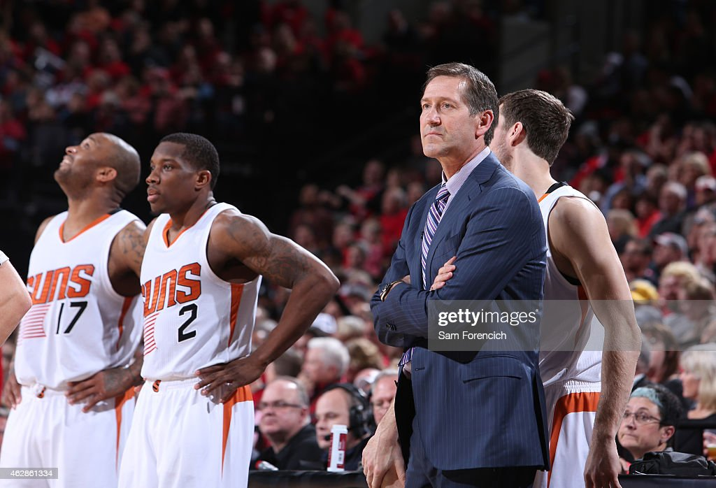 Jeff Hornacek of the Phoenix Suns stands on the court during a game against the Portland Trail Blazers on February 5 2015 at the Moda Center Arena in...