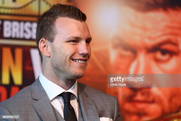 Jeff Horns peaks to media during the official press conference ahead of the WBO World Welterweight Championship fight between Jeff Horn and Gary...