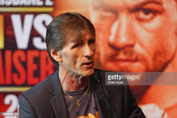 Jeff Horn's trainer Glen Ruston speaks to media during the official press conference ahead of the WBO World Welterweight Championship fight between...