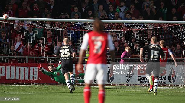 Jeff Hughes of Fleetwood Town misses a penalty in the second half during the Sky Bet League Two match between Fleetwood Town and Chesterfield at...