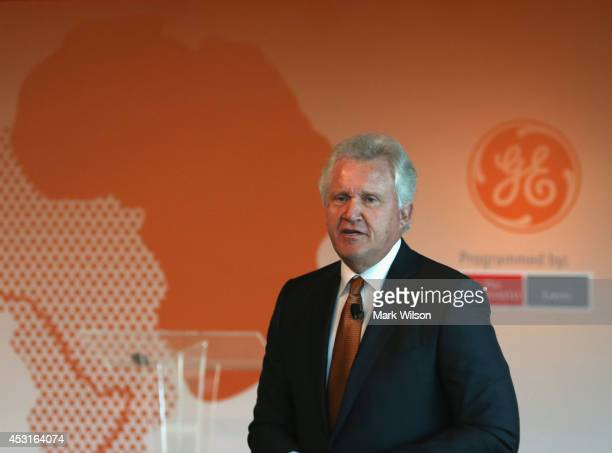 Jeff Immelt chairman and CEO of GE speaks about expanding access to power sources across Africa during a discussion at the Newseum August 4 2014 in...