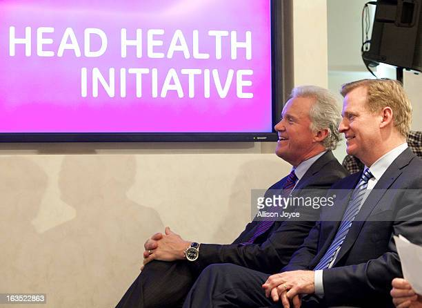 Jeff Immelt chairman and CEO of General Electric and Roger Goodell commissioner of the National Football League are seen at a news conference...