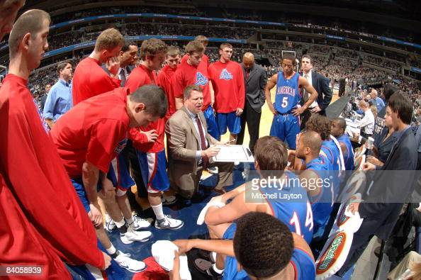 Jeff Jones head coach of the American Eagles during a college basketball game against the Georgetown Hoyas on December 6 2008 at Verizon Center in...
