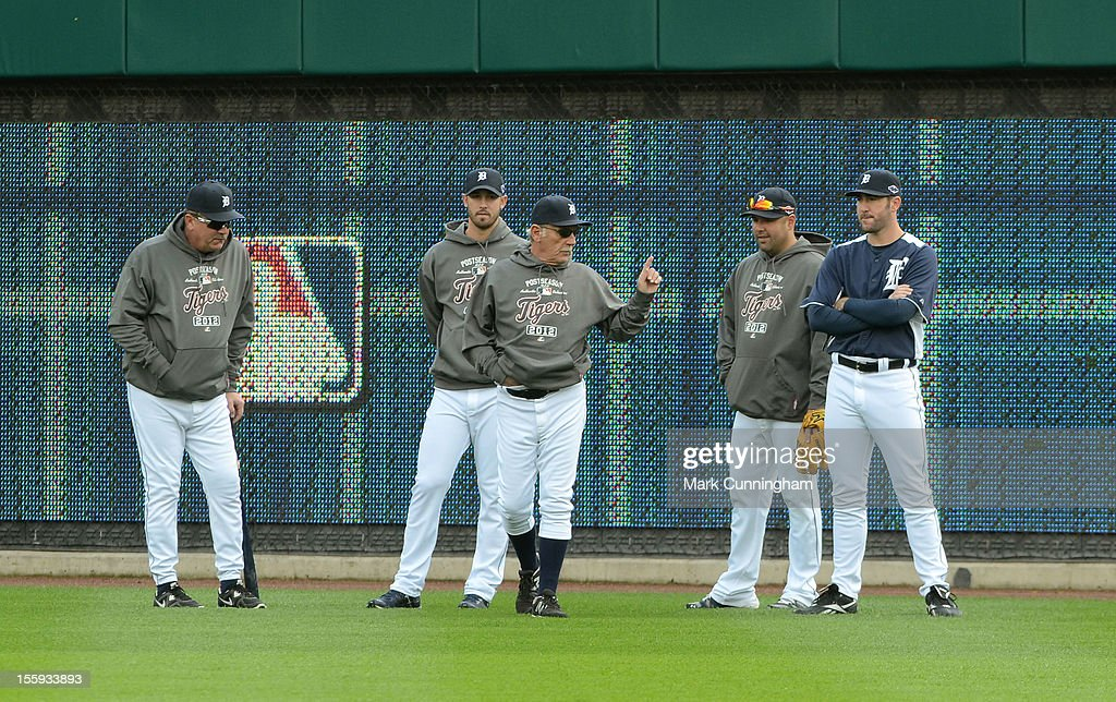 Jeff Jones #51, Rick Porcello #48, manager Jim Leyland #10, Gerald Laird #9, and Justin Verlander #35 (L-R) of the Detroit Tigers look on during warm ups prior to Game Four of the American League Championship Series against the New York Yankees at Comerica Park on October 18, 2012 in Detroit, Michigan. The Tigers defeated the Yankees 8-1 and now advance to the World Series.