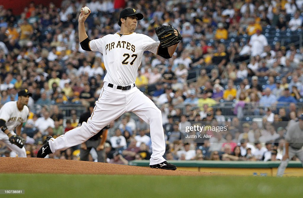 <a gi-track='captionPersonalityLinkClicked' href=/galleries/search?phrase=Jeff+Karstens&family=editorial&specificpeople=2362445 ng-click='$event.stopPropagation()'>Jeff Karstens</a> #27 of the Pittsburgh Pirates pitches against the Milwaukee Brewers during the game on August 25, 2012 at PNC Park in Pittsburgh, Pennsylvania.
