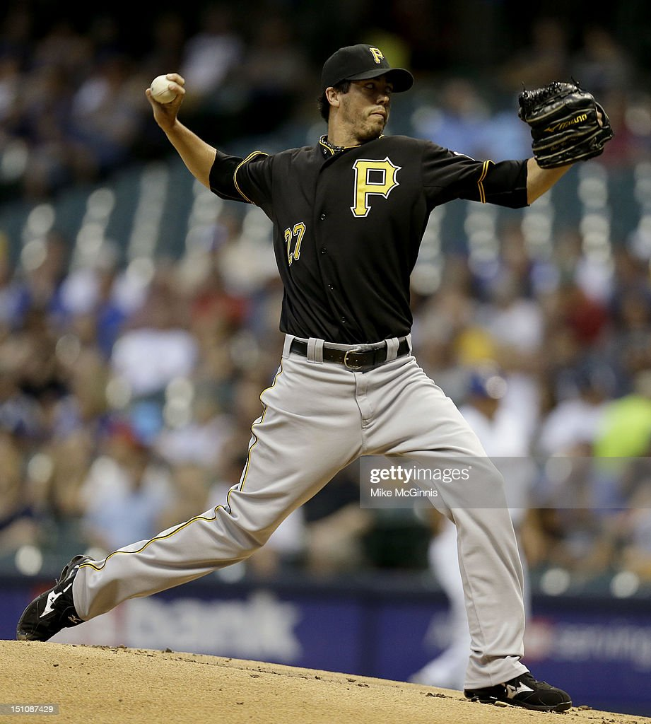 <a gi-track='captionPersonalityLinkClicked' href=/galleries/search?phrase=Jeff+Karstens&family=editorial&specificpeople=2362445 ng-click='$event.stopPropagation()'>Jeff Karstens</a> #27 of the Pittsburgh Pirates pitches against the Milwaukee Brewers during the game at Miller Park on August 31, 2012 in Milwaukee, Wisconsin.