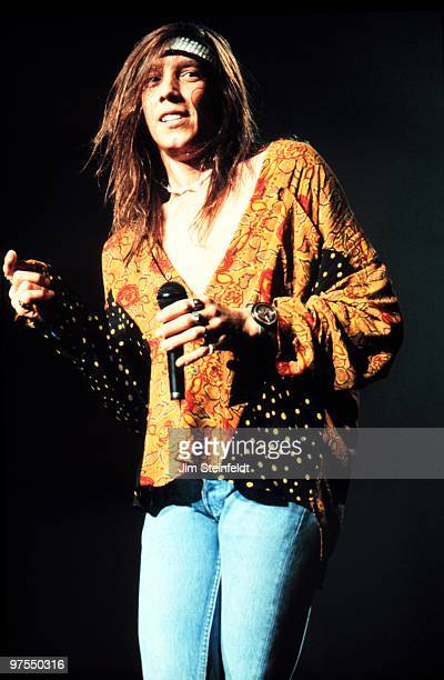 Jeff Keith vocalist for the rock band Tesla performs at the St Paul Civic Center in StPaul Minnesota on March 10 1992