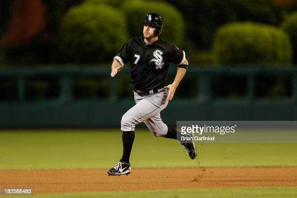 Jeff Keppinger of the Chicago White Sox advances to third during the second game of a double header against the Philadelphia Phillies at Citizens...