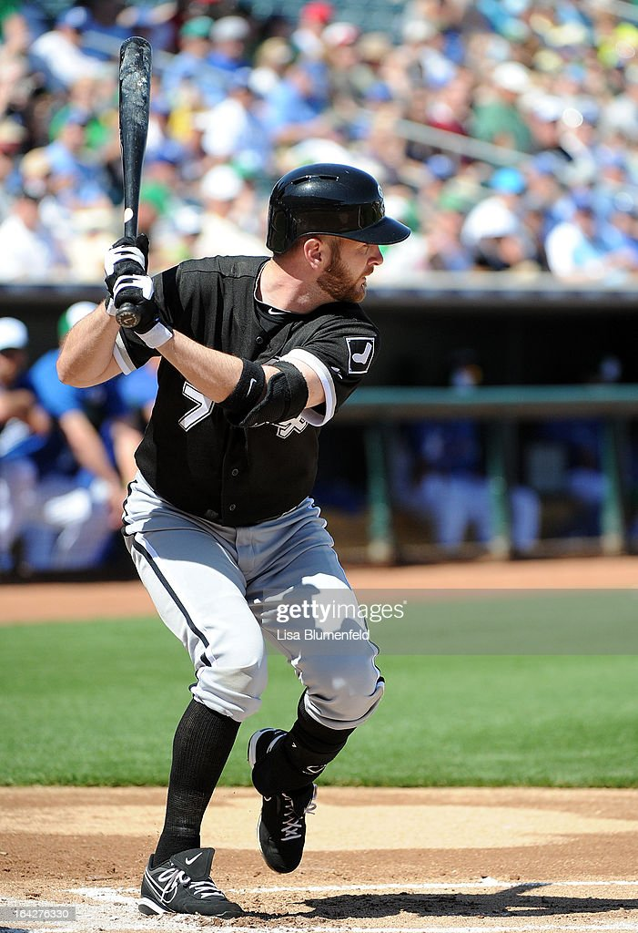 Jeff Keppinger #7 of the Chicago White Sox bats against the Kansas City Royals at Surprise Stadium on March 17, 2013 in Surprise, Arizona.