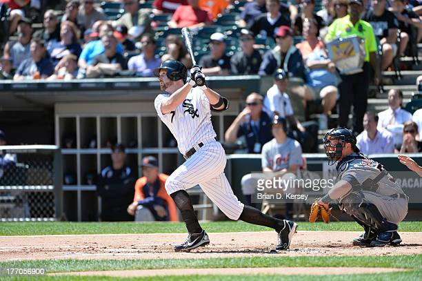 Jeff Keppinger of the Chicago White Sox bats as Bryan Holaday of the Detroit Tigers catches at US Cellular Field on August 14 2013 in Chicago...