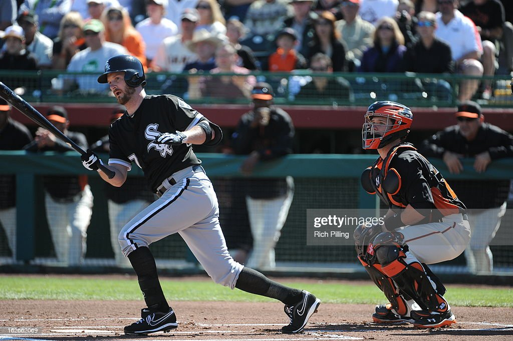 <a gi-track='captionPersonalityLinkClicked' href=/galleries/search?phrase=Jeff+Keppinger&family=editorial&specificpeople=835796 ng-click='$event.stopPropagation()'>Jeff Keppinger</a> #7 of the Chicago White Sox bats during the game against the San Francisco Giants on February 25, 2013 at Scottsdale Stadium in Scottsdale, Arizona. The Giants and White Sox played to a 9-9 tie.