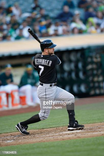 Jeff Keppinger of the Chicago White Sox bats during the game against the Oakland Athletics at Oco Coliseum on May 31 2013 in Oakland California The...