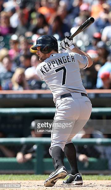 Jeff Keppinger of the Chicago White Sox bats in the fifth inning of the game against the Detroit Tigers at Comerica Park on September 22 2013 in...