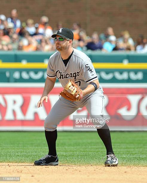 Jeff Keppinger of the Chicago White Sox fields during the game against the Detroit Tigers at Comerica Park on July 11 2013 in Detroit Michigan The...