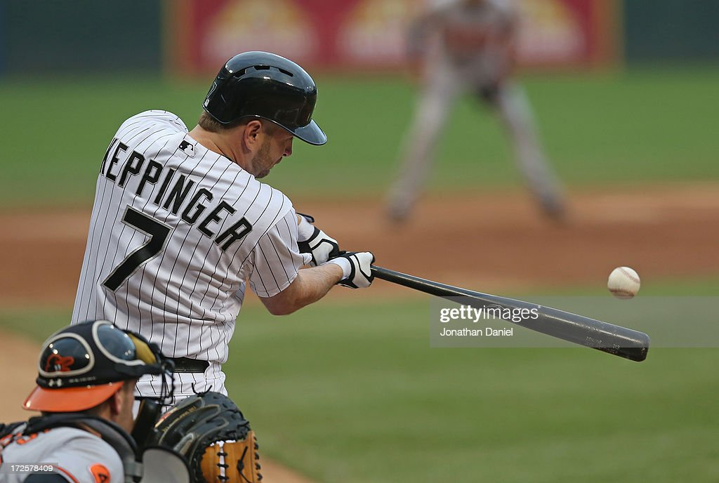 <a gi-track='captionPersonalityLinkClicked' href=/galleries/search?phrase=Jeff+Keppinger&family=editorial&specificpeople=835796 ng-click='$event.stopPropagation()'>Jeff Keppinger</a> #7 of the Chicago White Sox hits a double in the 2nd inning against the Baltimore Orioles at U.S. Cellular Field on July 3, 2013 in Chicago, Illinois.