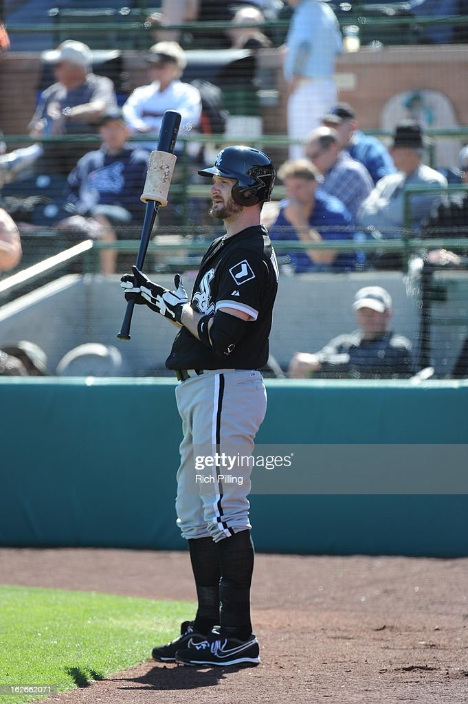 <a gi-track='captionPersonalityLinkClicked' href=/galleries/search?phrase=Jeff+Keppinger&family=editorial&specificpeople=835796 ng-click='$event.stopPropagation()'>Jeff Keppinger</a> #7 of the Chicago White Sox is seen in the on deck circle during the game against the San Francisco Giants on February 25, 2013 at Scottsdale Stadium in Scottsdale, Arizona. The Giants and White Sox played to a 9-9 tie.