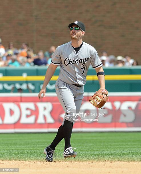 Jeff Keppinger of the Chicago White Sox looks on during the game against the Detroit Tigers at Comerica Park on July 11 2013 in Detroit Michigan The...