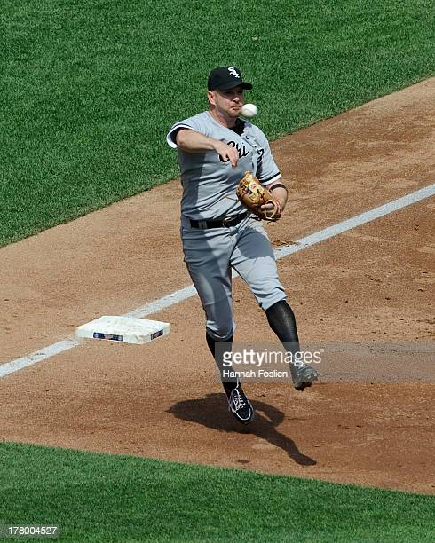 Jeff Keppinger of the Chicago White Sox makes a play at third base during the game against the Minnesota Twins on August 18 2013 at Target Field in...