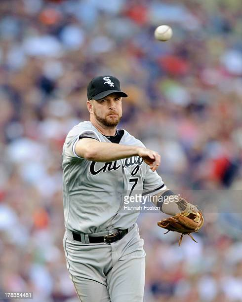 Jeff Keppinger of the Chicago White Sox makes a play at third base during the game against the Minnesota Twins on August 17 2013 at Target Field in...