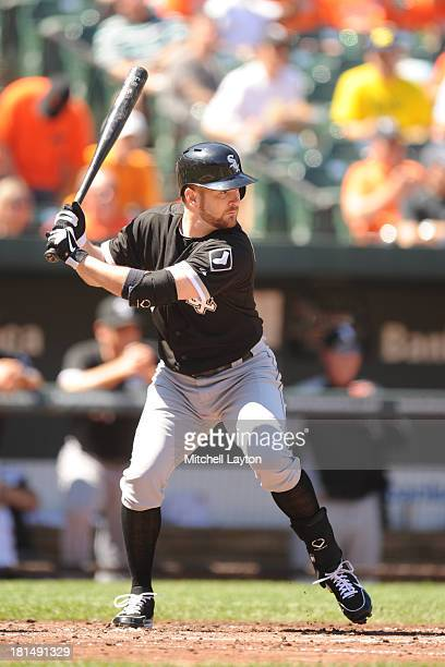 Jeff Keppinger of the Chicago White Sox prepares for a pitch during a baseball game against the Baltimore Orioles on September 7 2013 at Oriole Park...