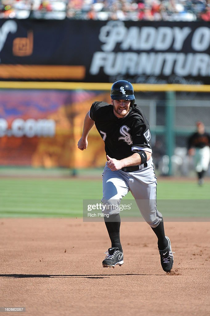 <a gi-track='captionPersonalityLinkClicked' href=/galleries/search?phrase=Jeff+Keppinger&family=editorial&specificpeople=835796 ng-click='$event.stopPropagation()'>Jeff Keppinger</a> #7 of the Chicago White Sox runs during the game against the San Francisco Giants on February 25, 2013 at Scottsdale Stadium in Scottsdale, Arizona. The Giants and White Sox played to a 9-9 tie.